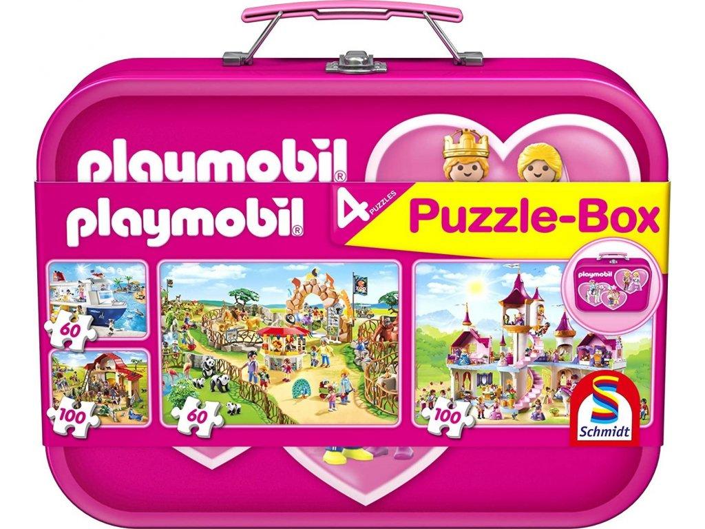 SCHMIDT Puzzle Playmobil 4v1 v plechovém kufříku (60,60,100,100 dílků)