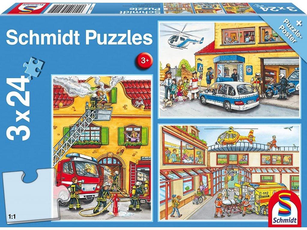 SCHMIDT Puzzle Policie, hasiči, záchranáři 3x24 dílků