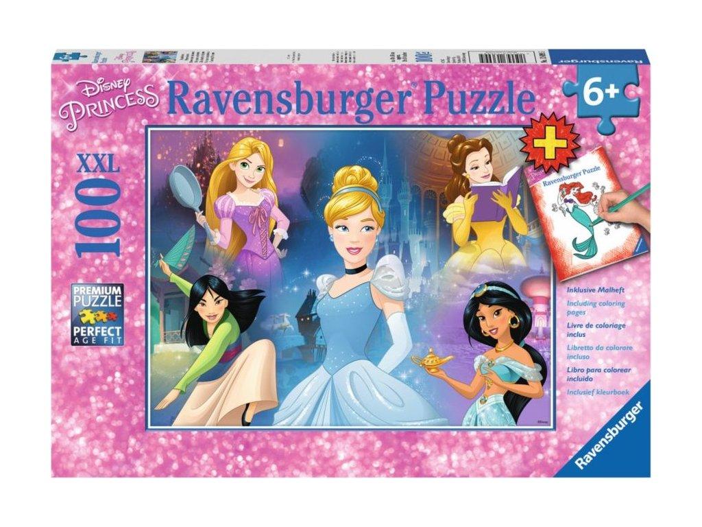RAVENSBURGER Puzzle Disney princezny XXL 100 dílků + omalovánky