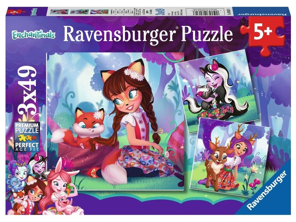 RAVENSBURGER Puzzle Enchantimals 3x49 dílků