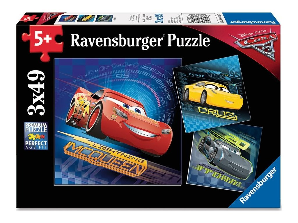 RAVENSBURGER Puzzle Auta 3, 3x49 dílků