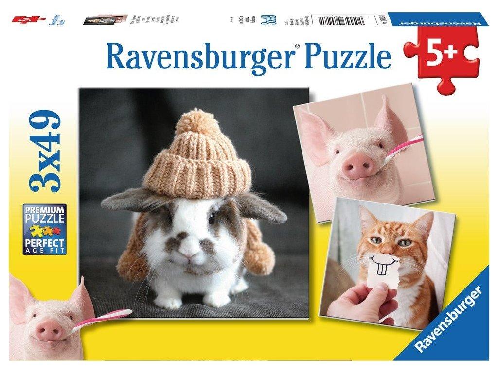 RAVENSBURGER Puzzle Veselé zvířecí portréty 3x49 dílků