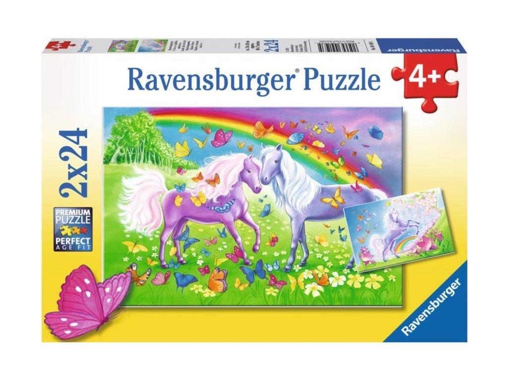 RAVENSBURGER Puzzle Duhoví koníci 2x24 dílků