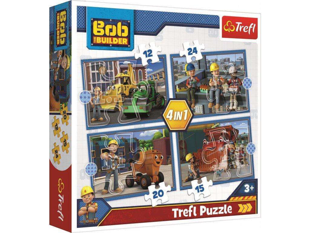 TREFL Puzzle Bořek stavitel: Pracovní den 4v1 (12,15,20,24 dílků)