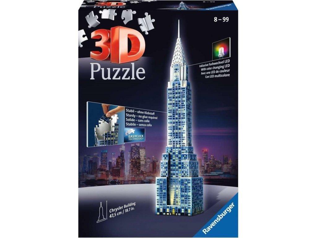 RAVENSBURGER Svítící 3D puzzle Noční edice Chrysler Building 216 dílků