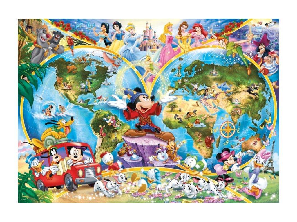 RAVENSBURGER Puzzle Disney - Mapa světa 1000 dílků