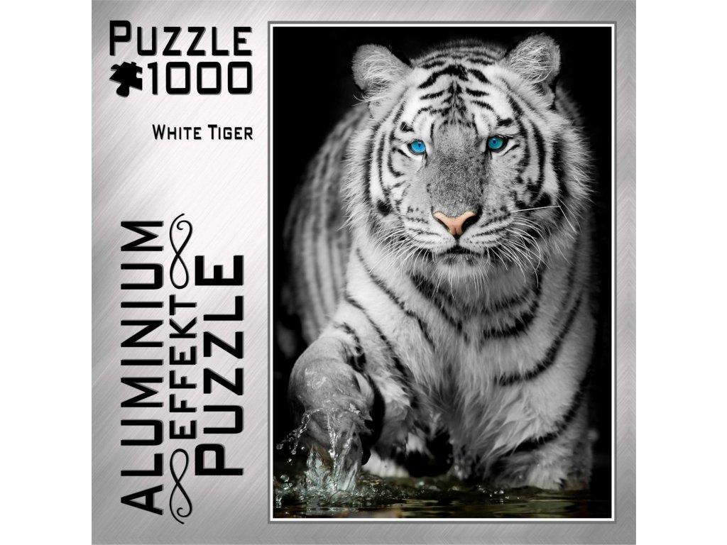 M.I.C. poškozený obal: Metalické puzzle Bílý tygr 1000 dílků