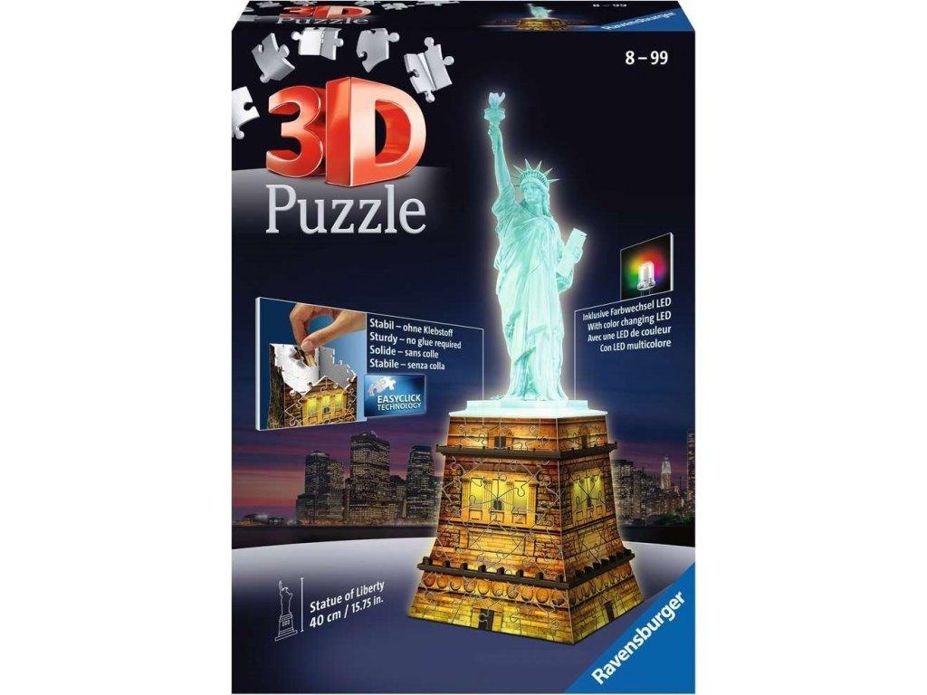 RAVENSBURGER Svítící 3D puzzle Noční edice Socha Svobody 108 dílků