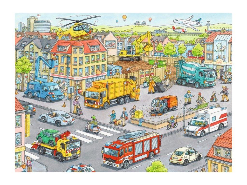 RAVENSBURGER Puzzle Auta ve městě XXL 100 dílků