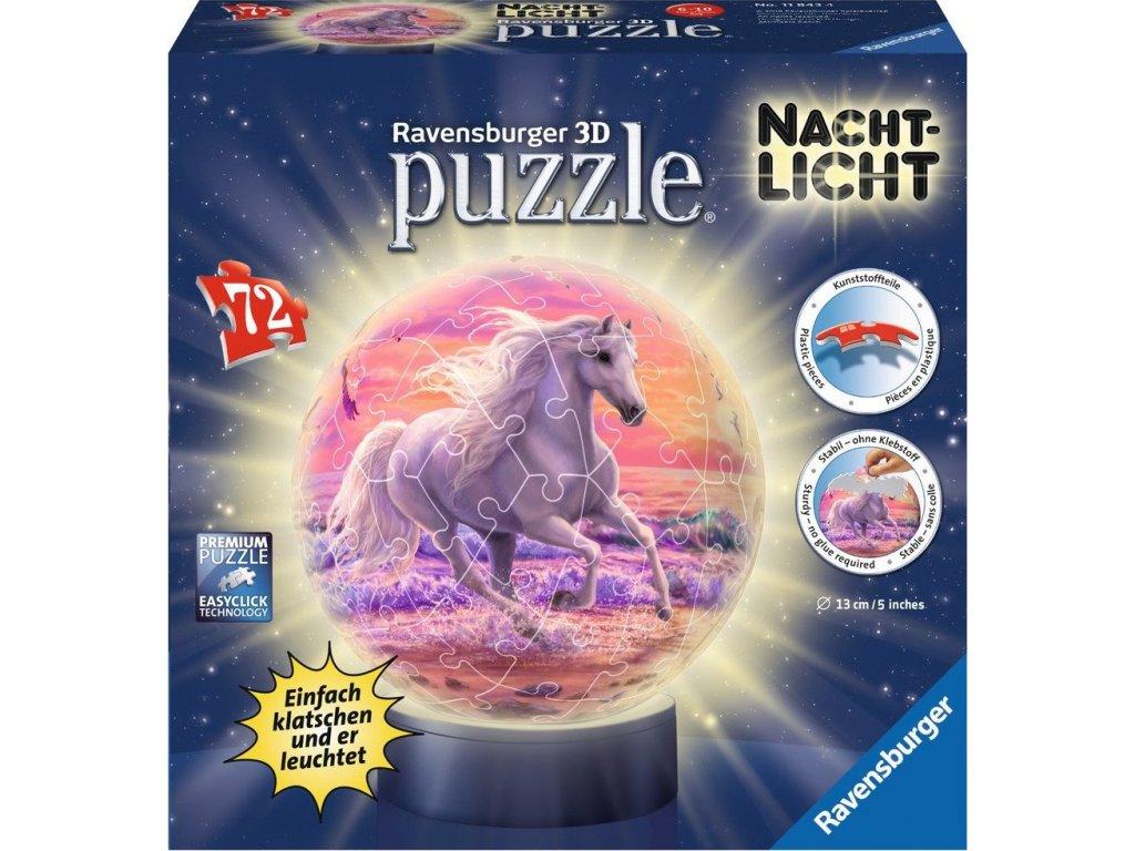 RAVENSBURGER Svítící puzzleball Kůň na pláži 72 dílků