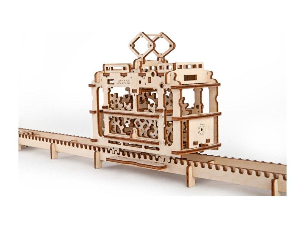 UGEARS 3D puzzle Tramvaj s kolejemi 154 dílků