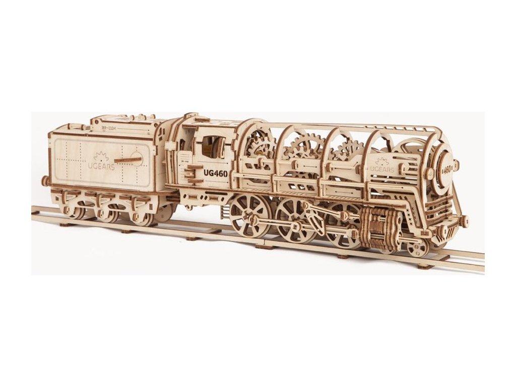 UGEARS 3D puzzle Parní lokomotiva s vagónem 443 dílků
