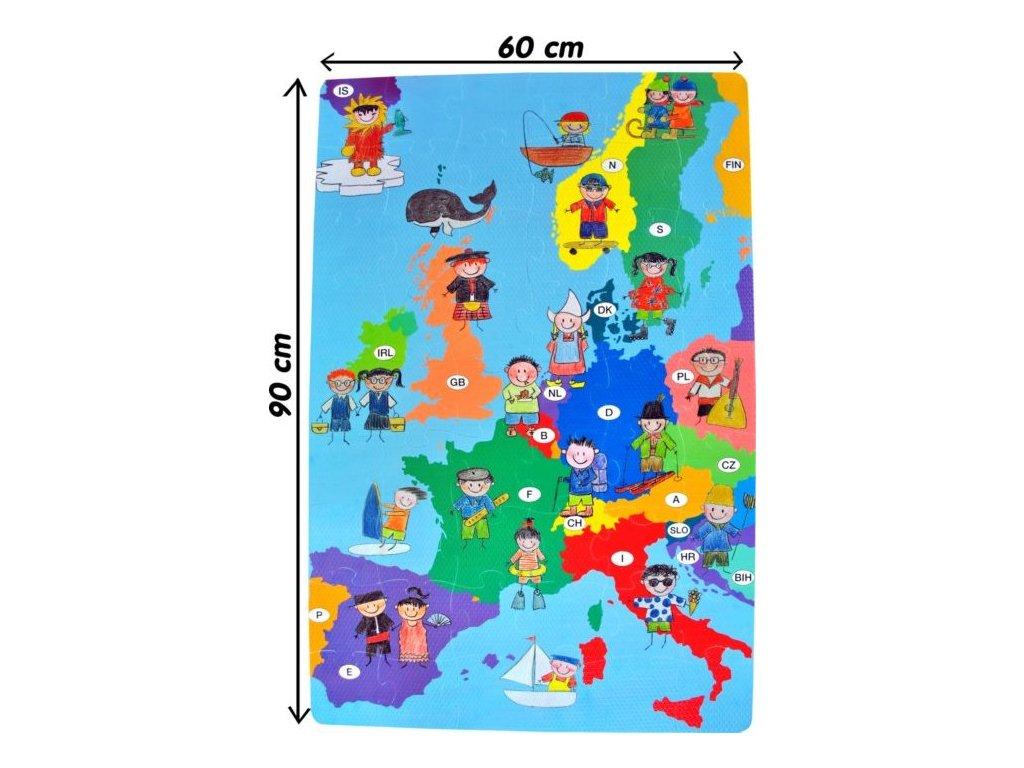 LC Pěnové podlahové puzzle Mapa Evropy 54 dílků