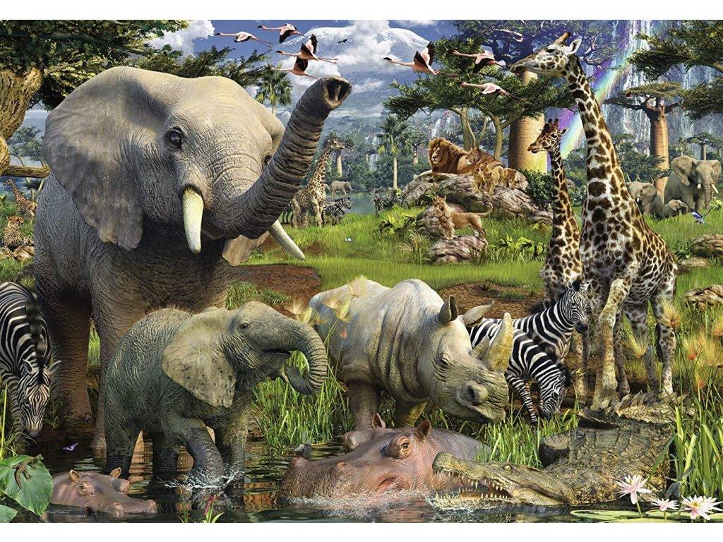 RAVENSBURGER Puzzle Zvířata u zdroje vody 18000 dílků