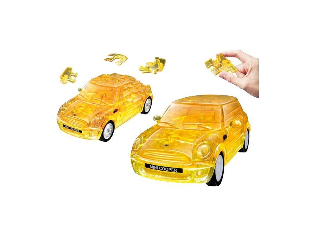 HAPPY WELL 3D Puzzle Mini Cooper 1:32 transparentní žlutý