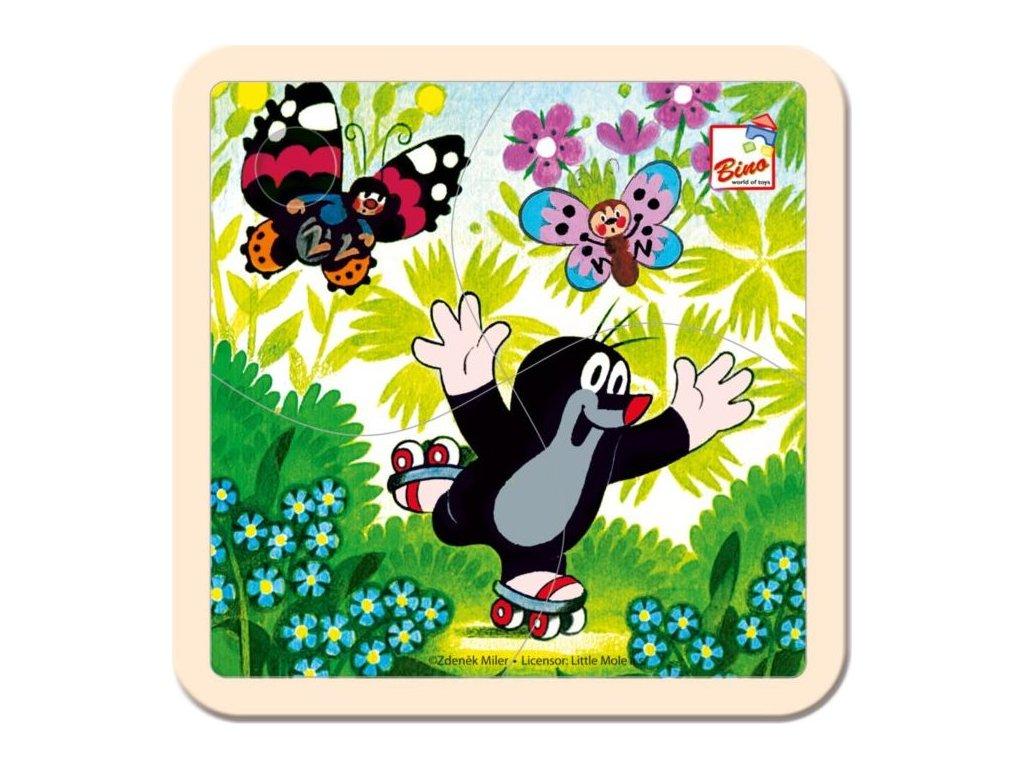 BINO Dřevěné puzzle Krtek na bruslích 4 dílky