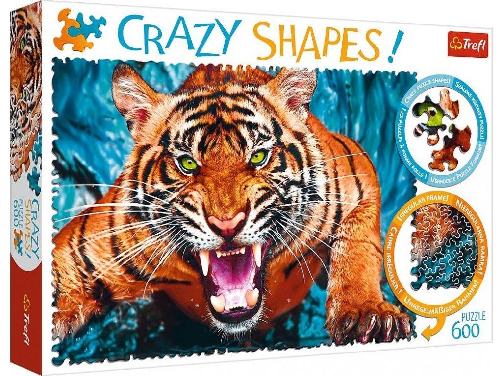TREFL Crazy Shapes puzzle Útok tygra 600 dílků