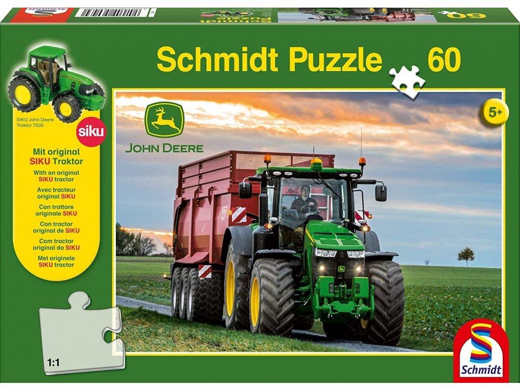 SCHMIDT Puzzle John Deere Traktor 8370R 60 dílků + model SIKU