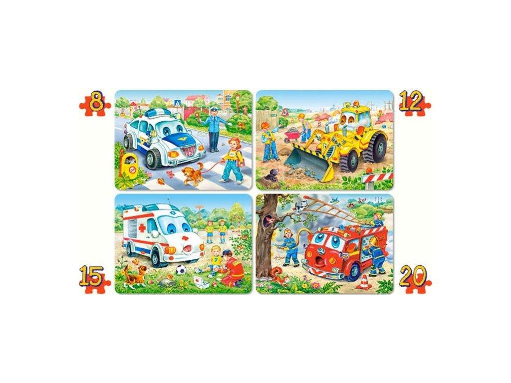 CASTORLAND Puzzle Vozidla 4v1 (8,12,15,20 dílků)