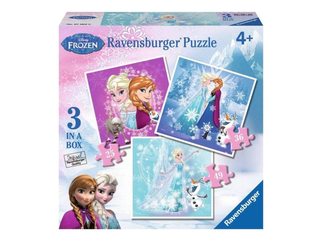 RAVENSBURGER Puzzle Ledové království: Kouzlo zimy 3v1 (25,36,49 dílků)