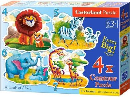 CASTORLAND Baby puzzle Africká zvířátka s mláďaty 4v1 (4,5,6,7 dílků)