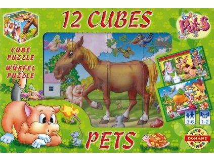 DOHÁNY Obrázkové kostky Domácí zvířata, 12 kostek