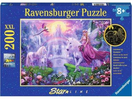 RAVENSBURGER Svítící puzzle Magická noc jednorožců XXL 200 dílků