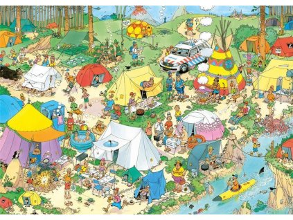 JUMBO Puzzle Kempování v lese 1000 dílků