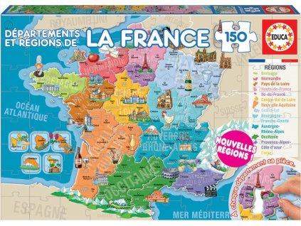 EDUCA Puzzle Mapa Francie 150 dílků