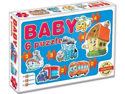 DOHÁNY Baby puzzle Doprava 6v1 (2-4 dílky)