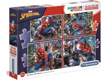 CLEMENTONI Puzzle Spiderman 4v1 (20+60+100+180 dílků)