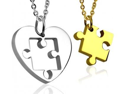 Ocelové partnerské přívěšky Puzzle - srdíčko (zlaté)