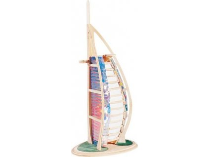 WOODEN TOY , WCK 3D puzzle Burj Al Arab malý barevný