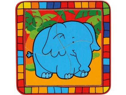 BINO Dřevěné puzzle Slon 4 dílky