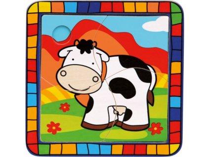 BINO Dřevěné puzzle Kravička 4 dílky