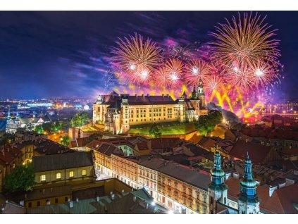 CASTORLAND Puzzle Ohňostroj nad hradem Wawel, Polsko 500 dílků
