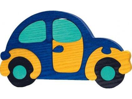 FAUNA Dřevěné puzzle Modré auto velké