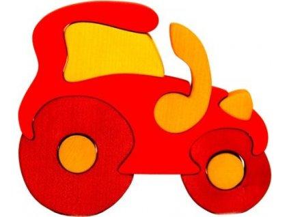 FAUNA Dřevěné puzzle Červený traktor