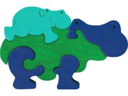 FAUNA Dřevěné puzzle Zelený hroch s mládětem