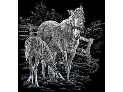 Škrabací obrázek - Kobyla s mládětem (stříbrná)