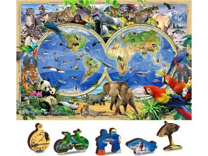 WOODEN CITY Dřevěné puzzle Mapa Království zvířat 2v1, 150 dílků EKO
