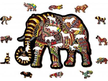 WOODEN CITY Dřevěné puzzle Magický slon 150 dílků EKO