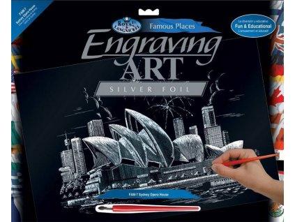 Škrabací obrázek - Opera v Sydney - velký (stříbrný)