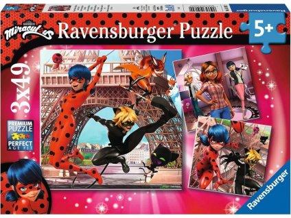 RAVENSBURGER Puzzle Kouzelná Beruška a Černý Kocour 3x49 dílků