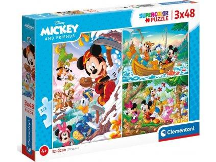CLEMENTONI Puzzle Mickey Mouse a přátelé 3x48 dílků