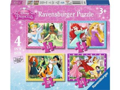 RAVENSBURGER Puzzle Disney Princezny: Láskyplná péče 4v1 (12,16,20,24 dílků)