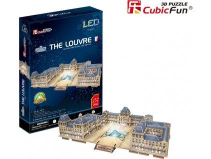 CUBICFUN Svítící 3D puzzle Louvre muzeum 137 dílků