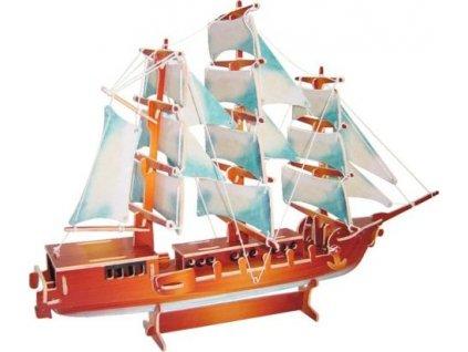WOODEN TOY , WCK 3D puzzle Evropská plachetnice barevná