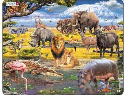 LARSEN Puzzle Zvířata savany 43 dílků