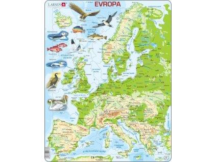 LARSEN Puzzle Geografická mapa Evropy 87 dílků
